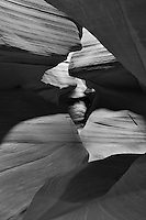 Upper Antelope Canyon, Page Arizona. Image taken with a Nikon D3 camera and 24-70 mm f/2.8 lens (ISO 200, 48 mm, f/16, 6 sec). Image processed with Capture One Pro. Converted to B&W with NIK Silver Efex Pro 2