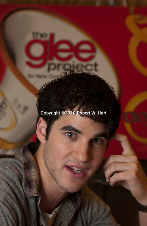 """Darren Criss, a cast member of the television show, """"Glee"""", cheers for audition hopefuls before entering the Norris Conference Center in downtown Fort Worth Sunday January 9, 2011. Criss was promoting """"The Glee Project."""""""