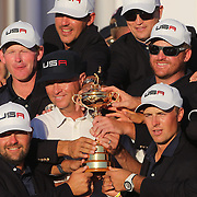 Ryder Cup 2016. Day Three. The United States team celebrate their  Ryder Cup win after the United States victory over Europe in the Ryder Cup tournament at Hazeltine National Golf Club on October 02, 2016 in Chaska, Minnesota.  (Photo by Tim Clayton/Corbis via Getty Images)