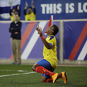 Joao Plata, Ecuador, after scoring during the Ecuador Vs El Salvador friendly international football match at Red Bull Arena, Harrison, New Jersey. USA. 14th October 2014. Photo Tim Clayton
