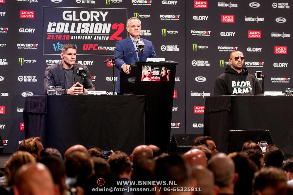 NLD/Utrecht/20191017 - Persconferentie Glory Collision 2 - Rico Verhoeven en Badr Hari, Marschall Zelaznik met Rico Verhoeven en badr Hari
