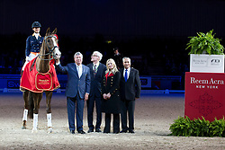 Cornelissen Adelinde (NED) - Galahad (stand-in for Parzival)<br /> Gerrit Jan Swinkels (Show President), Leif Törnblad (Judge), Lelle Henrichsen (Reem Acre Vice President Global Communications), Ingmar devos (Secretary General FEI)<br /> Reem Acra FEI World Cup ™ Dressage Final 2012<br /> 'S Hertogenbosch 2012<br /> © Dirk Caremans