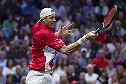 September 22, 2018 - Chicago, Illinois, U.S - Team World member JOHN ISNER of the United States hits a forehand during the first singles match between Team Europe and Team World on Day Two of the Laver Cup at the United Center in Chicago, Illinois. (Credit Image: © Shelley Lipton/ZUMA Wire)
