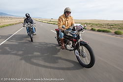 Mechanic and restorer Tanner Whitton (L) of New York riding Mark Hill's 4-cylinder 1915 class-2 Henderson beside Frank Westfall of New York on his 4-cylinder 1912 Henderson class-2 bike during the Motorcycle Cannonball Race of the Century. Stage-10 ride from Pueblo, CO to Durango, CO. USA. Tuesday September 20, 2016. Photography ©2016 Michael Lichter.