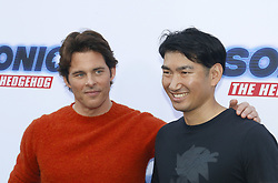 James Marsden and Haruki Satomi at the Los Angeles premiere of 'Sonic the Hedgehog' held at Paramount Theatre in Los Angeles, USA on January 25, 2020.