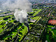Nederland, Zuid-Holland, Den Haag, 14-09-2019; Park Leeuwenberg, Tussen Voorburg en Ypenburg. Brand op het volkstuinencomplex met zware rookontwikkeling. <br /> Fire on the allotment complex with heavy smoke development.<br /> <br /> luchtfoto (toeslag op standard tarieven);<br /> aerial photo (additional fee required);<br /> copyright foto/photo Siebe Swart