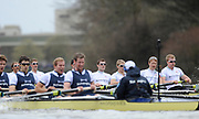 Putney, London, Cambridge [right] start to pull away from Oxford along Dukes Meadows, 156th, University Boat Race156th Race, on the Championship Course Putney to Hammersmith  Saturday  03/04/2010 [Mandatory Credit Peter Spurrier/ Intersport Images]