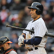 Derek Jeter, New York Yankees, batting during the New York Yankees V Baltimore Orioles home opening day at Yankee Stadium, The Bronx, New York. 7th April 2014. Photo Tim Clayton