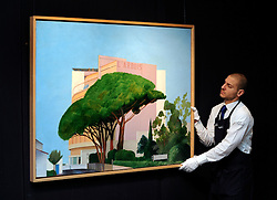 ©London News pictures...31.01.2011. David Hockney's Hotel L'Arbois, Sainte-Maxime of 1968 is expected to fetch 1-2million. Highlights of upcoming Sotheby's sales of impressionist and modern art and contemporary art. Works on show include a Picasso portrait of his mistress and muse Marie-Therese, from 1932 which is estimated to fetch £12 to £18 million, a private commission by Marc Chagall - never before seen on the market - estimated to fetch in excess of £10m and a Hockney painting estimated at £1 to £1.5m. . Picture Credit should read Stephen Simpson/LNP