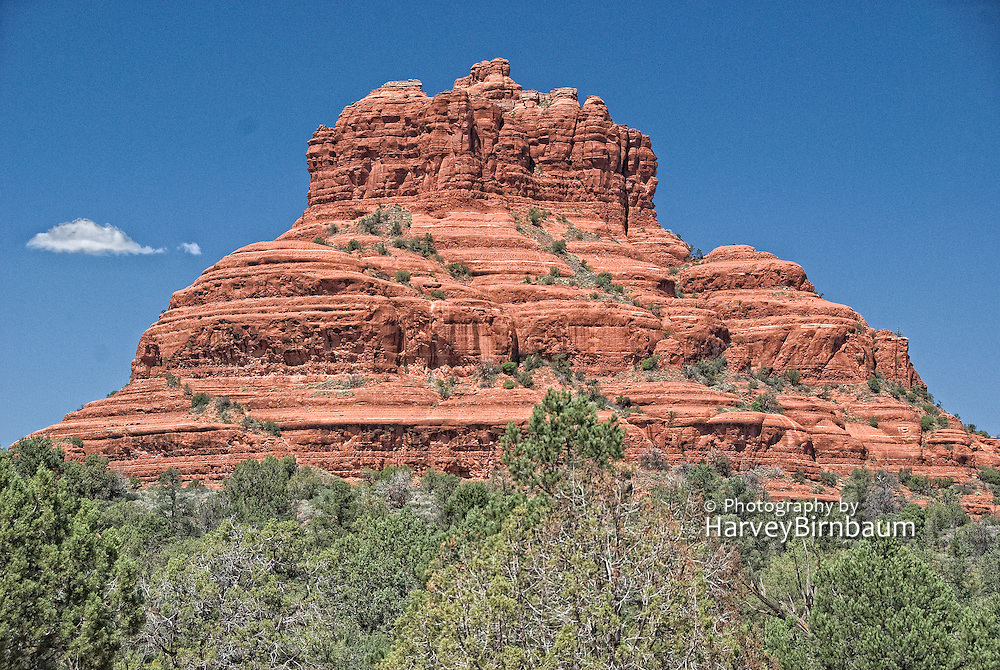 Sedona, USA, Arizona. Moody Red mountain formations. Courthouse Butte in Sedona Desert .
