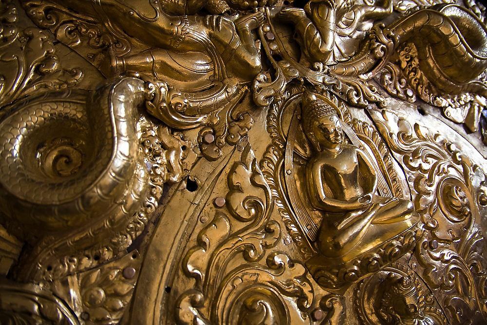 Replacement metalwork created by artisans during restoration of the Swayambhunath temple complex, Kathmandu, Nepal.