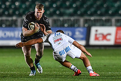 Jack Dixon of Dragons is tackled by Giulio Bisegni of Zebre<br /> <br /> Photographer Craig Thomas/Replay Images<br /> <br /> Guinness PRO14 Round 7 - Dragons v Zebre - Saturday 30th November 2019 - Rodney Parade - Newport<br /> <br /> World Copyright © Replay Images . All rights reserved. info@replayimages.co.uk - http://replayimages.co.uk