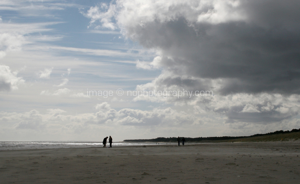 Storm clouds approching Curracloe Beach in Wexford Ireland where the opening scenes of Spielberg's film Saving Private Ryan was filmed