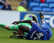 Sol Bamba of Cardiff city collides with Cardiff city goalkeeper Neil Etheridge .EFL Skybet championship match, Cardiff city v Sheffield Wednesday at the Cardiff City Stadium in Cardiff, South Wales on Saturday 16th September 2017.<br /> pic by Andrew Orchard, Andrew Orchard sports photography.