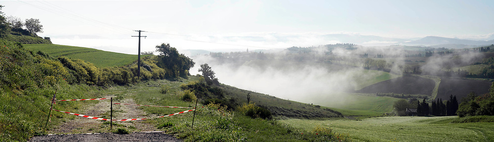 panoramic view of Alaigne during early morning France Aude April 2020