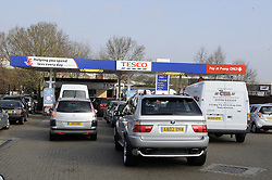 © Licensed to London News Pictures. 30/03/2012 9am.Panic buying Petrol from night to day! same petrol station with queues at 8pm on 29.03.2012 then again at 9 am on the 30.03.2012..People still Queuing for Petrol.  Panic buying  at Sidcup Tesco Station,in South East London..Photo credit : Grant Falvey/LNP