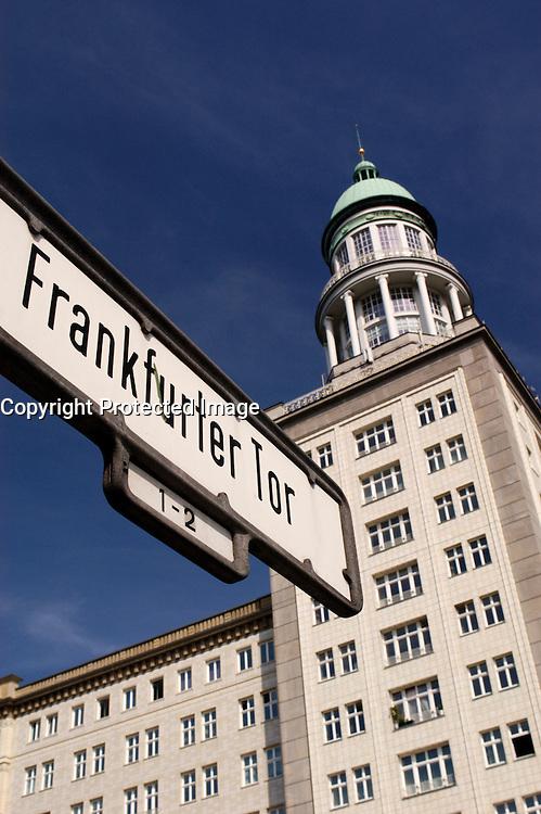 Street sign on Karl Marx Allee next to Frankfurter Tor in Berlin Germany