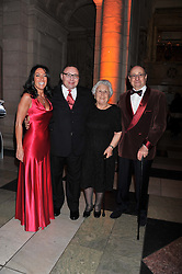 Left to right, KATRINA SHALIT, JONATHAN SHALIT and his parents DAVID & SOPHIA SHALIT at the 50th birthday party for Jonathan Shalit held at the V&A Museum, London on 17th April 2012.