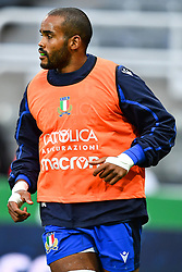 Maxime Mbanda of Italy during the pre match warm up<br /> <br /> Photographer Craig Thomas/Replay Images<br /> <br /> Quilter International - England v Italy - Friday 6th September 2019 - St James' Park - Newcastle<br /> <br /> World Copyright © Replay Images . All rights reserved. info@replayimages.co.uk - http://replayimages.co.uk