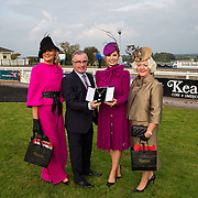 09.10.2016           <br /> Aidan Liddy, Keanes Jewellers presents The winner of the Keanes Jewellers Best dressed competition at Limerick Racecourse, Sharon Kennedy (centre) of Clareview Limerick who won a diamond pendent to the value of €4,000, also pictured are Margaret Hynes Cahill, (left) Ardfert Co. Kerry won 2nd prize of a complete outfit for Aisling Maher Boutique Adare and Mary O'Halloran from Dublin (right) won a luxury hamper from Inis - The Energy of the Sea. Picture: Alan Place