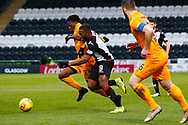 Duckens Nazon of St Mirren & Steve Lawson of Livingston challenge for the ball during the Ladbrokes Scottish Premiership match between St Mirren and Livingston at the Simple Digital Arena, Paisley, Scotland on 2nd March 2019.