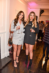 Left to right, Amber Dowding and Georgia Kousoulou at the Sunkissed Cosmetics Launch,  15 Bateman Street, Soho, London England. 17 January 2018.