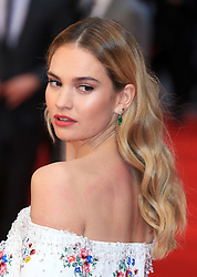 attends The Guernsey Literary and Potato Peel Pie Society world premiere at the Curzon Mayfair in London, UK. 09 Apr 2018 Pictured: Lily James. Photo credit: Fred Duval / MEGA TheMegaAgency.com +1 888 505 6342