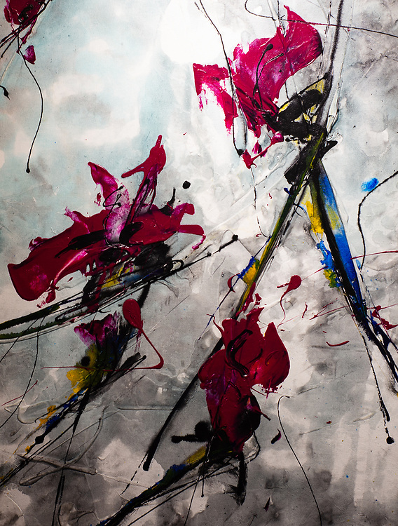 """DETAIL of 'RESIHI' . 33.5"""" x 77.5"""" Acrylic and Ink Acrylic & Ink on Hand Stretched Canvas."""
