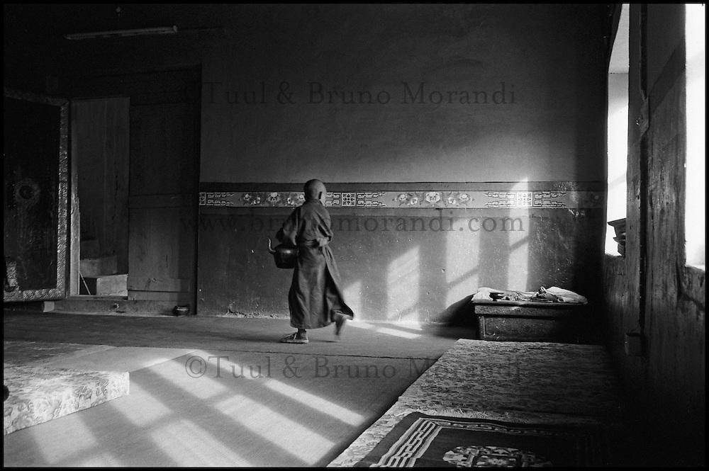 Inde. Province du Jammu Cachemire. Ladakh. Vallée de la Nubra. Monastère bouddiste de Diskit. Moine novice. // India. Jamu and Kashmir province. Ladakh. Nubra valley. Diskit monastery. Young monk.