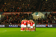 Bristol City players huddle before kick off in the The FA Cup fourth round match between Bristol City and Bolton Wanderers at Ashton Gate, Bristol, England on 25 January 2019.