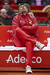 April 7, 2018 - Valencia, Valencia, Spain - Sergi Bruguera Captain of Spain reacts during the doubles match between Feliciano Lopez and Marc Lopez of Spain against Tim Putz and Jan-Lennard Struff of Germany during day two of the Davis Cup World Group Quarter Finals match between Spain and Germany at Plaza de Toros de Valencia on April 7, 2018 in Valencia, Spain  (Credit Image: © David Aliaga/NurPhoto via ZUMA Press)