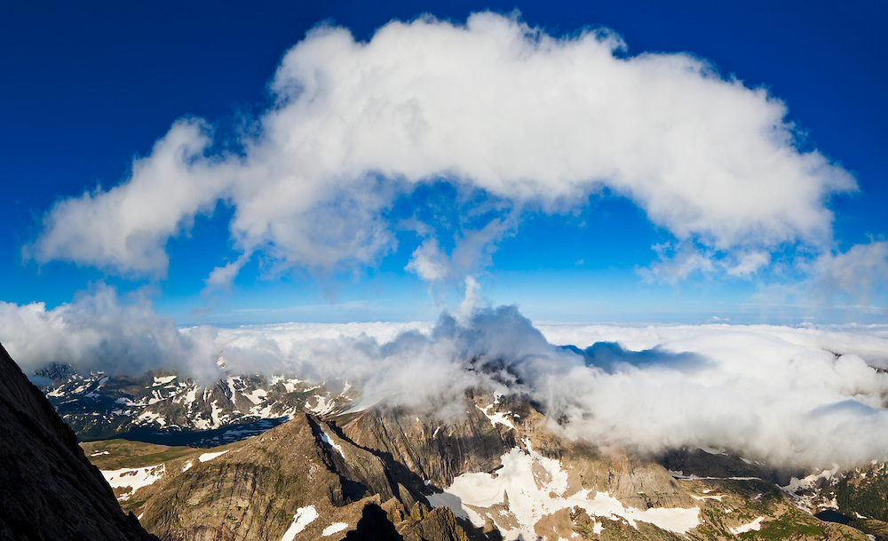 The summit of Chiefs Head overtaken by clouds, from Longs Peak, Rocky Mountain National Park, Colorado.
