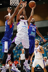 November 19, 2017 - Reno, Nevada, U.S - Reno Bighorns Guard AARON HARRISON (1) shoots under the hoop against Long Island Nets Forward KAMARI MURPHY (21) and Long Island Nets Guard MILTON DOYLE (35) during the NBA G-League Basketball game between the Reno Bighorns and the Long Island Nets at the Reno Events Center in Reno, Nevada. (Credit Image: © Jeff Mulvihill via ZUMA Wire)