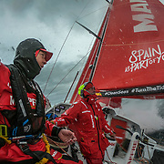 Leg 3, Cape Town to Melbourne, day 03, Sophie Ciszek and Rob Greenhalgh on board MAPFRE. Photo by Jen Edney/Volvo Ocean Race. 13 December, 2017.