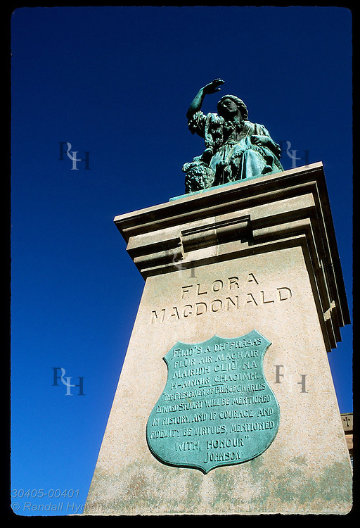 Flora MacDonald statue honors her for smuggling Bonnie Prince Charlie to France-bound ship after Culloden rout; Inverness, Sctlnd.