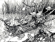 King Log from the book ' Aesop's fables ' Published in 1912 in London by Heinemann and in  New York by Page Doubleday Illustrated by Arthur Rackham,