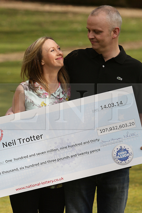 © Licensed to London News Pictures. 18/03/2014. London, UK.  Neil Trotter of Coulsdon, Surrey wins £108,000,000 from a lucky dip euro Millions lottery ticket. Pictured here at Wotton Hotel, Wotton, Dorking Surrey with long term girlfriend Nicky Ottaway. Photo credit : /LNP