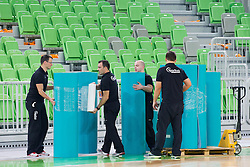 Cleaning the arena after the volleyball match between ACH Volley Ljubljana and Bre Banca Lannutti Cuneo (ITA) in Playoff 12 game of CEV Champions League 2012/13 on January 15, 2013 in Arena Stozice, Ljubljana, Slovenia. (Photo By Vid Ponikvar / Sportida.com)