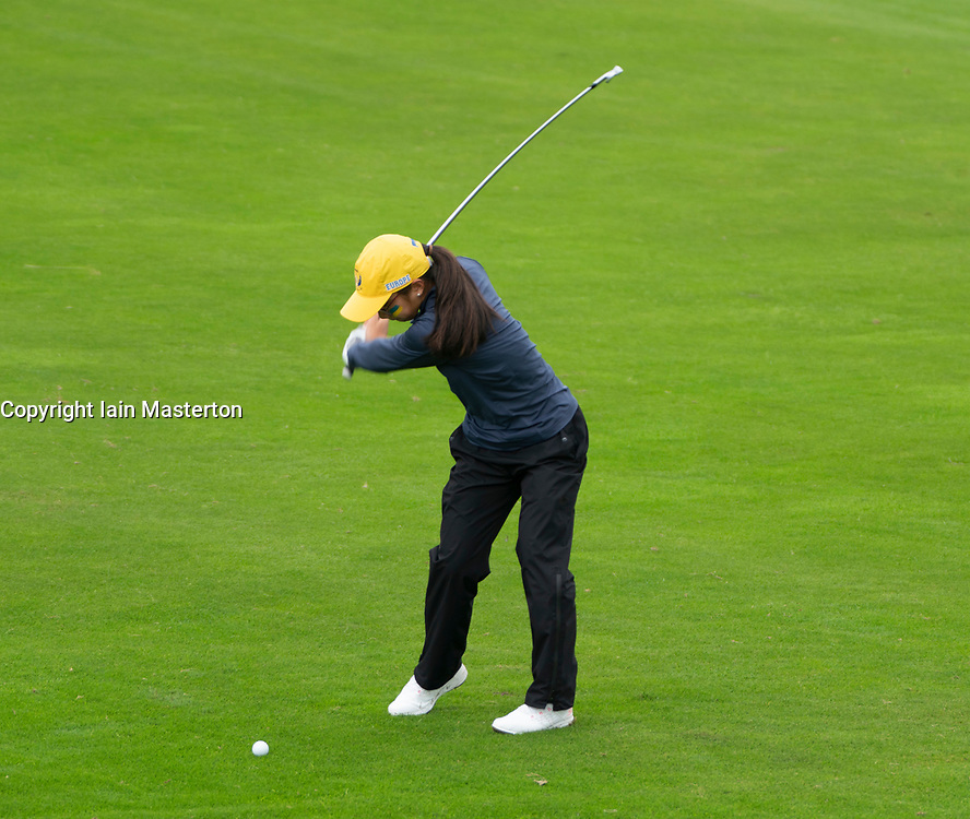 Auchterarder, Scotland, UK. 10 September 2019. Day one of the Junior Solheim Cup 2019 at the Centenary Course at Gleneagles. Tuesday Morning Foursomes. Pictured  Lilas Pinthier of Europe plays approach shot.Iain Masterton/Alamy Live News