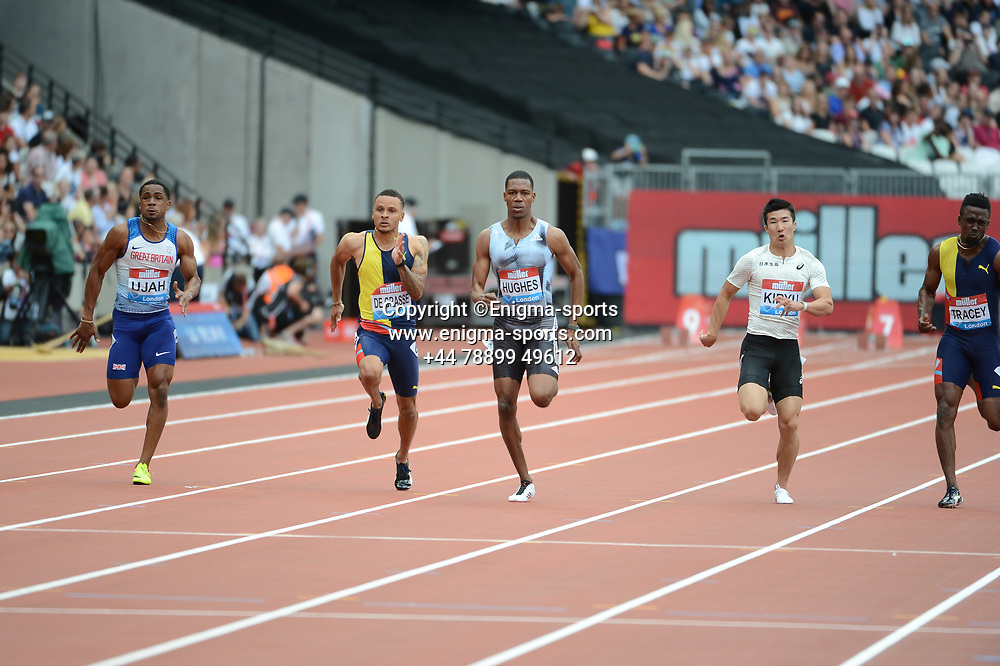 Zharnel Hughes competes in the men's 100m during the IAAF Diamond League at the Queen Elizabeth Olympic Park London, England on 20 July 2019.