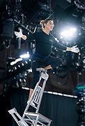 """Hand balancer Lkhagva Ochir practices his aerial chair balancing routine during rehearsal for """"Cirque du Soleil: CRYSTAL"""" at the Alliant Energy Center in Madison, WI on Wednesday, May 1, 2019."""