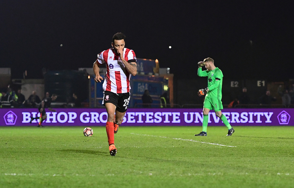 Lincoln City's Nathan Arnold celebrates scoring the only goal of the game<br /> <br /> Photographer Chris Vaughan/CameraSport<br /> <br /> Emirates FA Cup Third Round Replay - Lincoln City v Ipswich Town - Tuesday 17th January 2017 - Sincil Bank - Lincoln<br />  <br /> World Copyright © 2017 CameraSport. All rights reserved. 43 Linden Ave. Countesthorpe. Leicester. England. LE8 5PG - Tel: +44 (0) 116 277 4147 - admin@camerasport.com - www.camerasport.com
