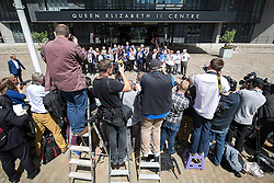 © Licensed to London News Pictures . 06/07/2016 . London , UK . The families of those killed in the Iraq war outside the QEII Centre , after the report is delivered . Scene outside the Queen Elizabeth II Conference Centre in Westminster , ahead of the publication of the Chilcot Inquiry's report in to the 2003 invasion of Iraq . Photo credit : Joel Goodman/LNP