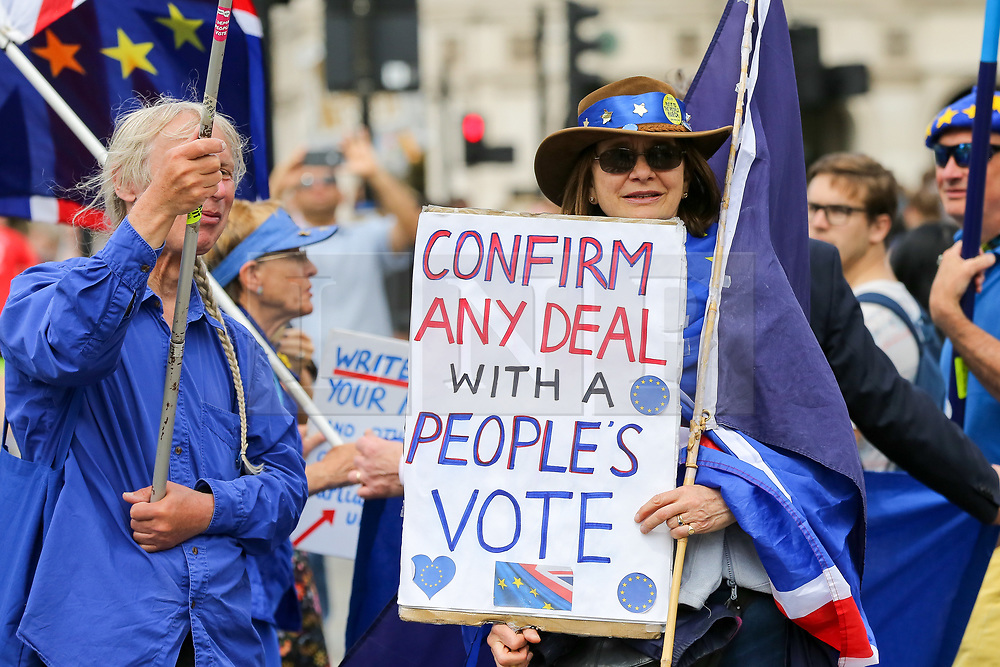© Licensed to London News Pictures. 22/05/2019. London, UK. Anti-Brexit protestors with a placard demonstrates outside Houses of Parliament on the eve of the European Parliament election. Photo credit: Dinendra Haria/LNP