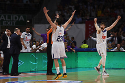 May 31, 2017 - Madrid, Madrid, Spain - Sergio Llul (C), #23 of Real Madrid and Andres Nocioni, #7 of Real Madrid celebrate during the first game of the semifinals of basketball Endesa league between Real Madrid and Unicaja de Málaga. (Credit Image: © Jorge Sanz/Pacific Press via ZUMA Wire)