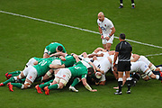 John Cooney of Ireland puts the ball into the scrum during the Six Nations international rugby union match between England and Ireland at Twickenham stadium, Sunday, Feb. 23, 2020, in London, United Kingdom.  England won the match 24-12. (Mitchell Gunn/ESPA-Images-Image of Sport)