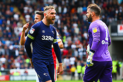 Richard Keogh of Derby County shouts after the referee awards a penalty kick to Rotherham United - Mandatory by-line: Ryan Crockett/JMP - 15/09/2018 - FOOTBALL - Aesseal New York Stadium - Rotherham, England - Rotherham United v Derby County - Sky Bet Championship