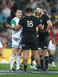 Referee Jerome Garces talks to New Zealand's Charlie Faumuina after he has conceeded a penalty during the second test of the 2017 British and Irish Lions tour at Westpac Stadium, Wellington.