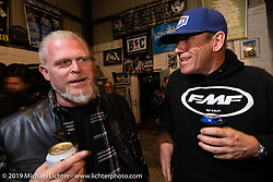 Jay Cirrito and Eric Stein at Bill Dodge's Blings Cycles industry party during Daytona Bike Week. Daytona Beach, FL. USA. Wednesday March 14, 2018. Photography ©2018 Michael Lichter.