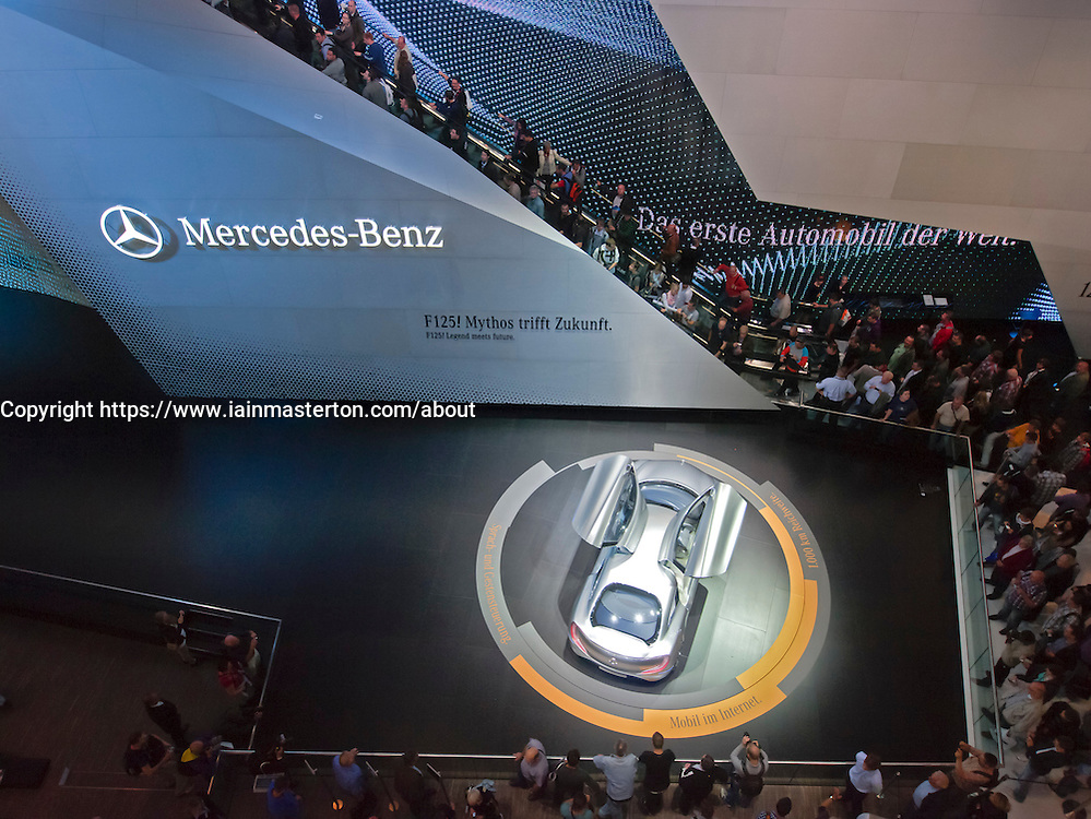 Large Mercedes stand displaying new F125! hydrogen Fuel cell car at Frankfurt Motor Show or IAA 2011 Germany